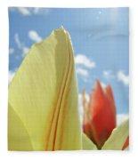 Yellow Tulip Flower Art Prints Spring Blue Sky Clouds Baslee Troutman Fleece Blanket