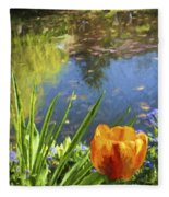 Yellow Tulip In Giverny  Fleece Blanket