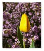 Yellow Tulip In The Garden Fleece Blanket
