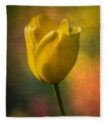 Yellow Tulip Textures Of Spring Fleece Blanket