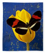 Yellow Tulip With Orange And Black Butterfly Fleece Blanket