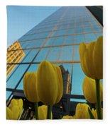 Yellow Tulips Looking Up At The Hancock Boston Ma Fleece Blanket