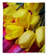 Yellow Tulips With Dew Drops Fleece Blanket