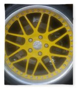 Yellow Vette Wheel Fleece Blanket