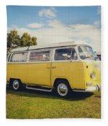 Yellow Vw T2 Camper Van 02 Fleece Blanket