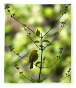Yellow Warbler In A Tree 2 Fleece Blanket