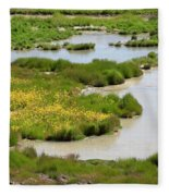 Yellow Wildflowers At Mud Volcano Area In Yellowstone National Park Fleece Blanket
