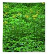 Yellow Wildflowers Fleece Blanket