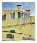 Yellow Worn Out Concrete House Fleece Blanket