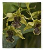 Yellowish Orchids Fleece Blanket