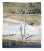 Yellowstone Park Bisons In August Fleece Blanket