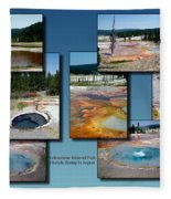 Yellowstone Park Firehole Spring In August Collage Fleece Blanket