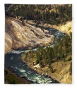 Yellowstone River Canyon Fleece Blanket