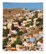 Yialos Town On Symi Island Fleece Blanket