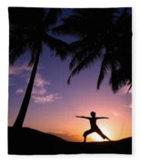Yoga At Sunset Fleece Blanket