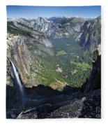 Yosemite Falls And Valley From Eagle Tower - Yosemite Fleece Blanket