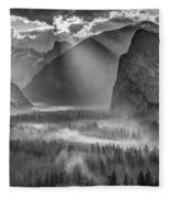 Yosemite Morning Sun Rays Fleece Blanket