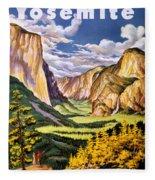 Yosemite National Park Vintage Poster Fleece Blanket
