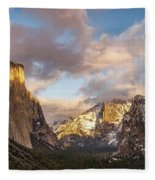 Yosemite Tunnel View Sunset In Winter Fleece Blanket