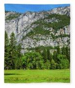 Yosemite West Valley Meadow Panorama #2 Fleece Blanket