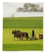 Young Amish Farmer Fleece Blanket