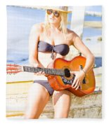 Young Attractive Blonde Woman Playing Guitar Fleece Blanket