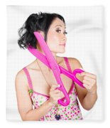 Young Beautiful Woman Cutting Hair At Beauty Salon Fleece Blanket