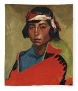 Young Buck Of The Tesuque Pueblo Fleece Blanket