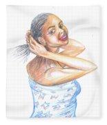 Young Cameroun Woman Tying Her Hair Fleece Blanket