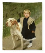 Young Child And A Big Dog Fleece Blanket