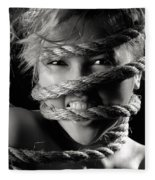 Young Expressive Woman Tied In Ropes Fleece Blanket