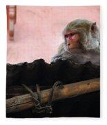 Young Female Asian Monkey Sitting On The Roof Fleece Blanket