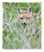 Young Fox Kit Hiding In Tall Grass Fleece Blanket