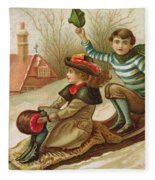 Young Girl And Boy Tobogganing, Victorian Christmas And New Year Card Fleece Blanket
