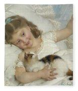 Young Girl And Cat Fleece Blanket