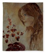 Young Girl And Flowers  Fleece Blanket
