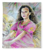 Young Girl From Tahiti Fleece Blanket