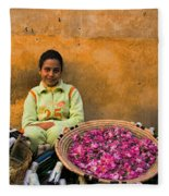 Young Girl Selling Rose Petals In The Medina Of Fes Morroco Fleece Blanket