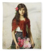 Young Girl With Blossoms Fleece Blanket