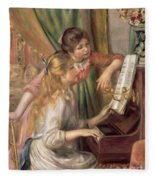 Young Girls At The Piano Fleece Blanket
