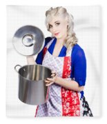 Young Housewife Lifting Lid On A Home Cooking Pot Fleece Blanket