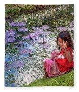 Young Khmer Girl - Cambodia Fleece Blanket