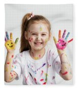 Young Kid Showing Her Colorful Hands Fleece Blanket