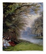 Young Ladies By A River Fleece Blanket