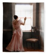 Young Lady In Pink Gown Looking Out Window Fleece Blanket
