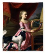 Young Lady With A Bird And A Dog Fleece Blanket