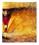 Young Man In Hooded Sweatshirt On Grunge Wall Fleece Blanket