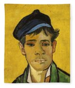 Young Man With A Hat Fleece Blanket