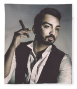 Young Man With Cigar Fleece Blanket