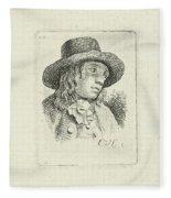 Young Man With Hat Fleece Blanket